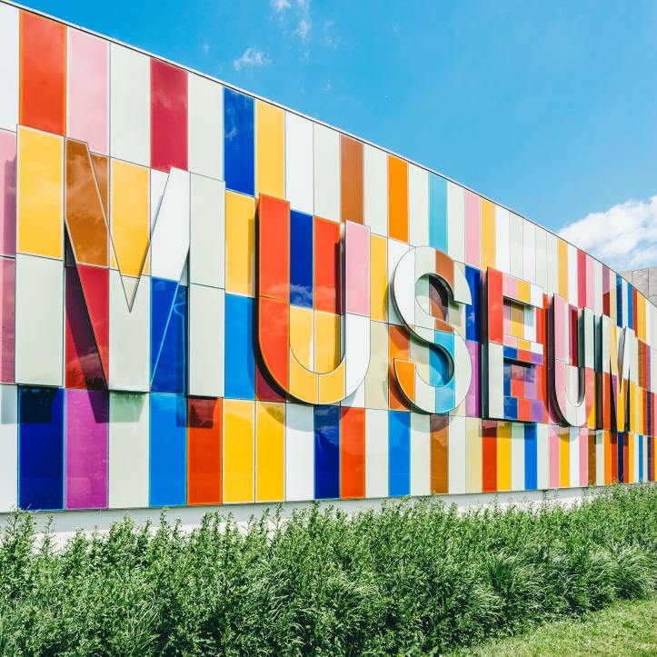 Colourful sign saying 'Museum' at Waterloo Region Museum, Kitchener, Canada