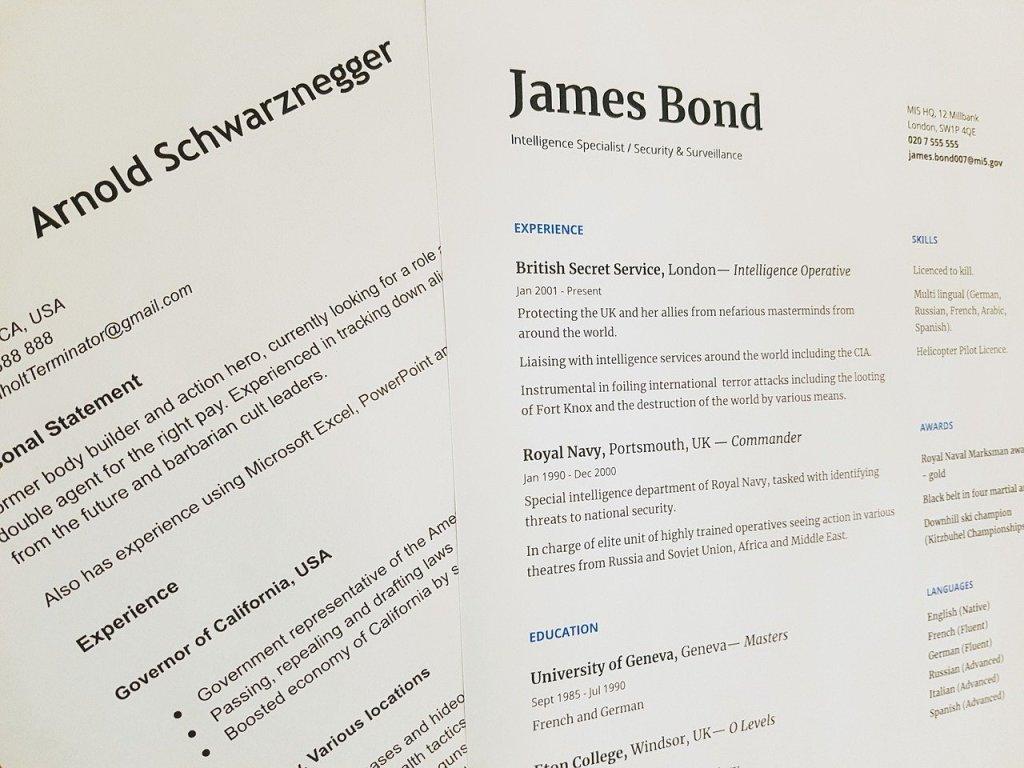 Image showing 2 CVs - one belonging to Arnold Schwarznegger and one for James Bond.